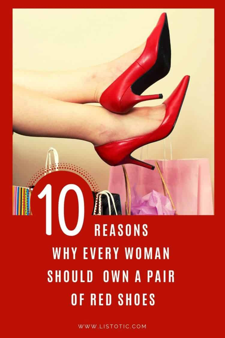 From casual outfits to dressy, wearing red shoes is a chic way to dress up or dress down for weddings, play dates or work. 10 reasons why every woman should own a pair of red shoes for themselves.