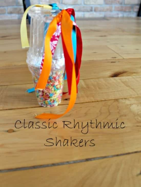 Repurpose your clear plastic cups to make an easy rhythmic sprinkle shaker with colorful ribbon.