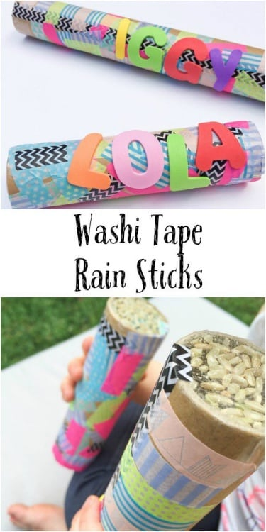 Easy washi tape rain sticks craft for kids. Fun DIY musical instruments made from recyclable paper towel roll.