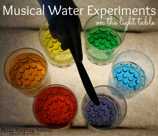 rainbow colored water xylophone with different water heights to create your own unique sound.