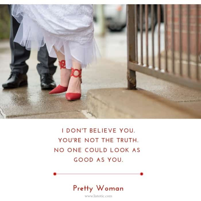 Julia Roberts in pretty woman is a woman who knows how to wear red shoes. Classy, Chic and beautiful wearing red shoes might be the perfect look for a wedding day. Cinderella love stories are not always made from glass slippers. Sometimes, it takes the perfect sexy red shoes.