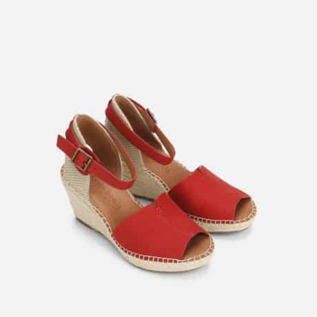 Mary Jane style red wedge heel pump for women summer time outfit and casual work outfit.