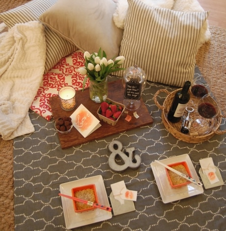 Romantic stay at home date night ideas for married couples and parents who need to save money on Valentine's day
