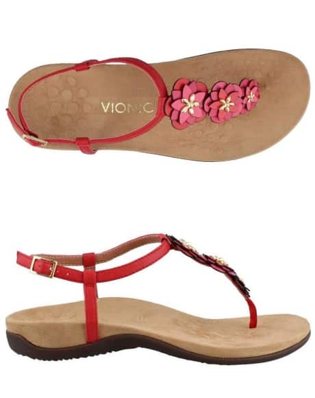 Women's red sandals that are orthotics too. Casual, yet classy, for any spring or summer outfit.