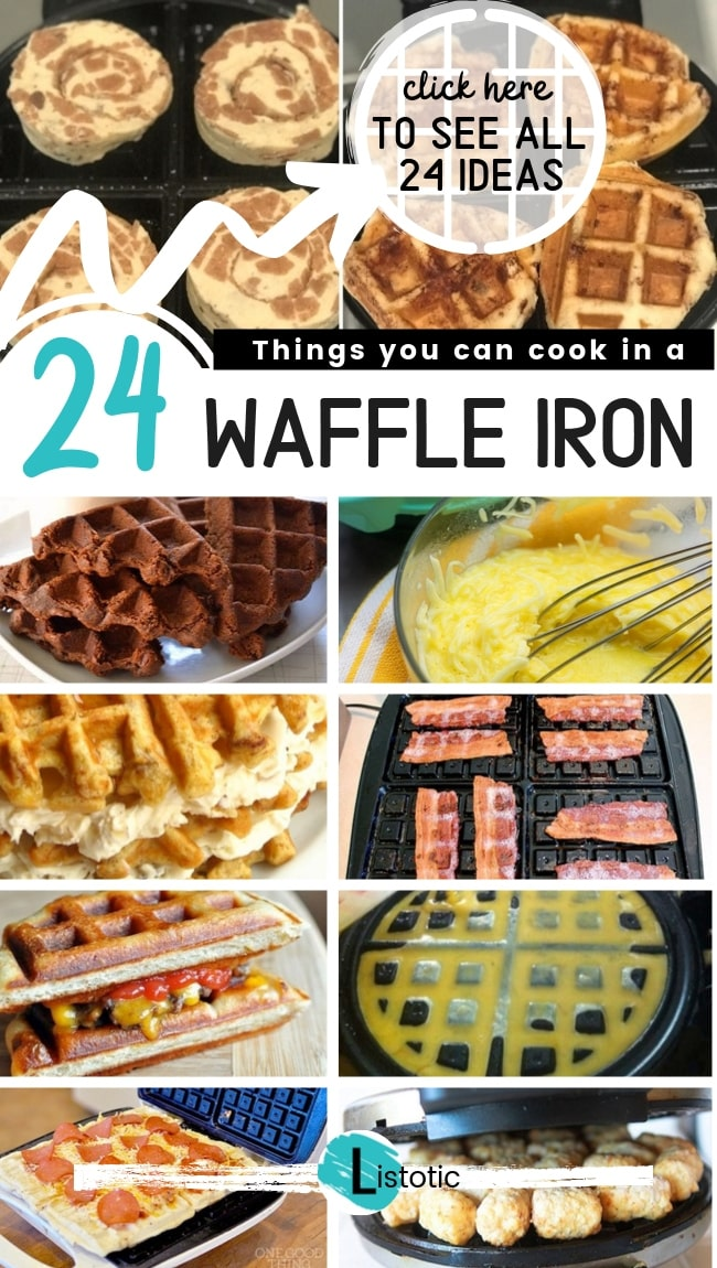 collage of foods. a variety of recipes you can make using a waffle iron