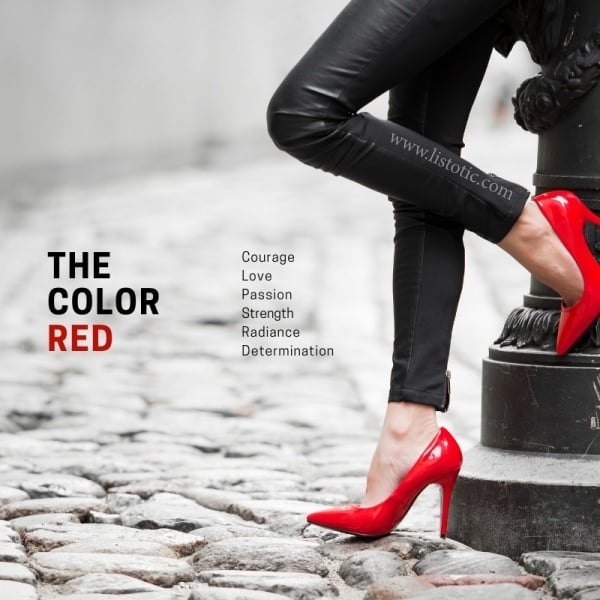 Red is a primary color meaning strength, passion, courage and so much more. Owning a pair of red shoes exhibits the determination and radiance in a woman.
