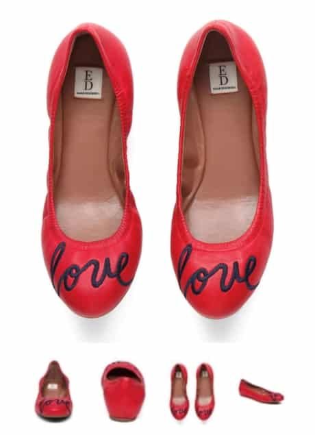 Love is in the air when you wear shoes that have love written on the toes. Women's red shoes that are also comfortable flats.
