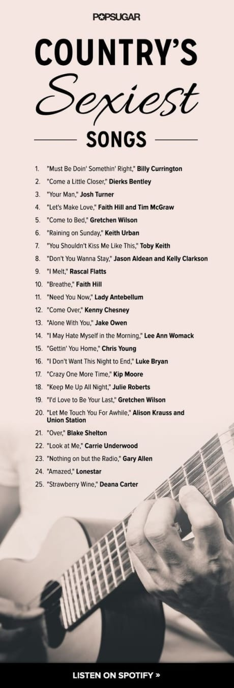 list of Country music songs that are romantic for a stay at home date night for a married couple or for valentine's day