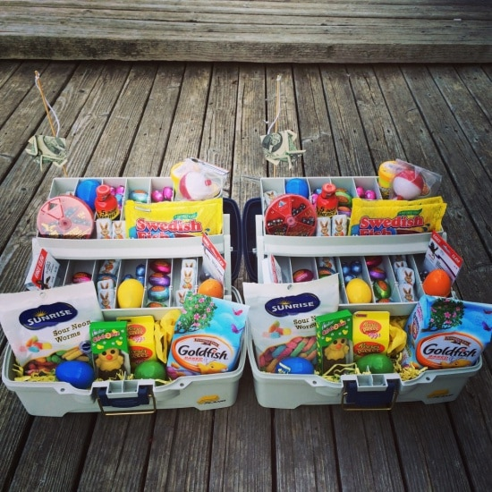 Alternative Easter Basket Tackle Box filled with themed treats such as goldfish, swedish fish, gummy worms, bobbers, bait and more!