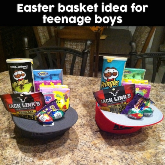 Baseball hat themed Easter Basket with peeps, Pringles, Beef Jerky, Cadbury Eggs, chocolate eggs and more!