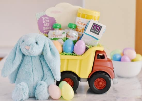 Alternative Easter Basket Dump Truck filled with Easter treats and a Jelly cat stuffed bunny.