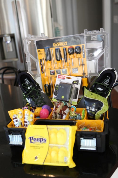Tool box Easter Basket idea filled with DeWalt tools, tennis shoes, beef jerky, peeps is everything your teen boy could want this Easter holiday!