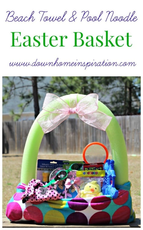 Easy and quick DIY pool noodle and beach towel Easter basket full of warm weather toys such as bubble wands, swimming goggles, swim suits and more!