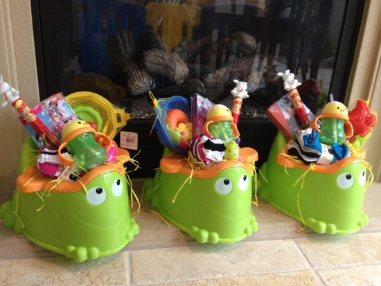 Toddler Potty filled with Easter themed sippy cups, bubbles, outdoor toys, fun socks and more!