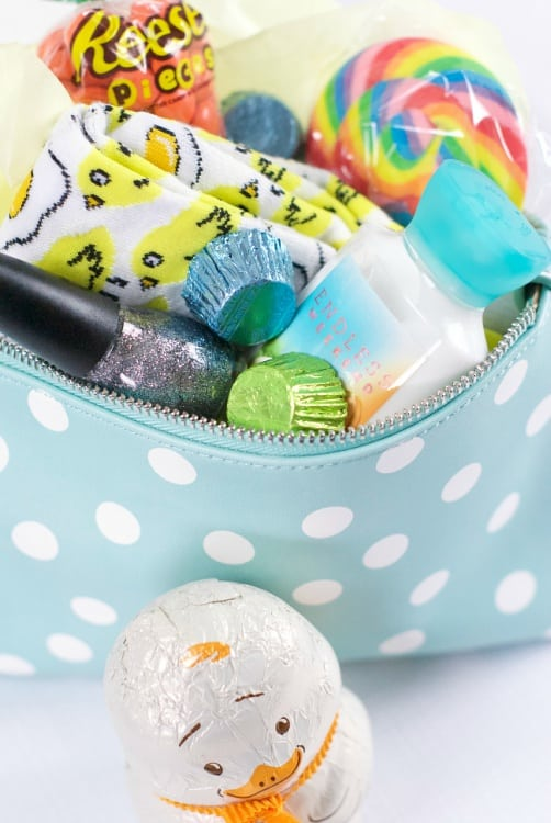 Fill your teens makeup bag with their favorite products like nail polish, cozy socks, lotion, Easter eggs and more.