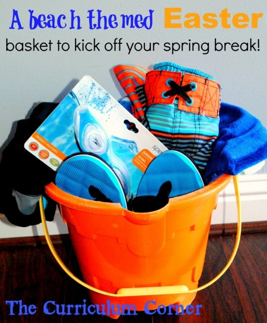 Sand bucket alternative Easter basket filled with your summer essentials such as new swimming suit, swimming goggles, flip flops, beach towel and sunscreen. Don't forget the chocolate Easter bunny!