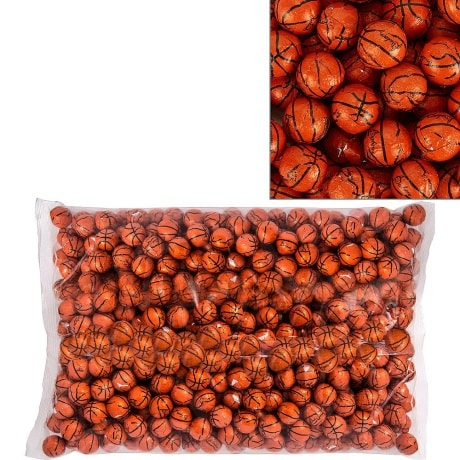 Large Bag of round chocolates individually wrapped with an orange basketball design wrapper for a basketball party favor.