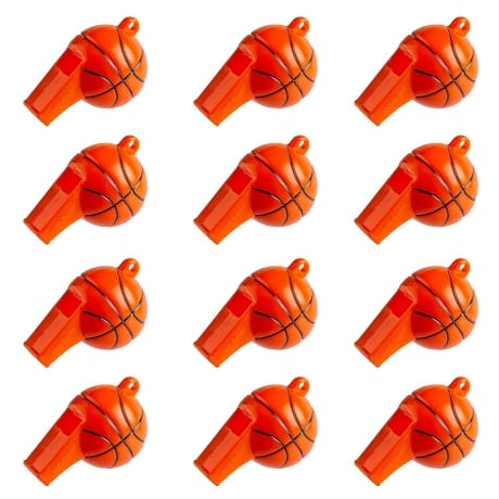 Set of 12 orange Party City whistles with basketball shape for kids party favor at basketball birthday party.