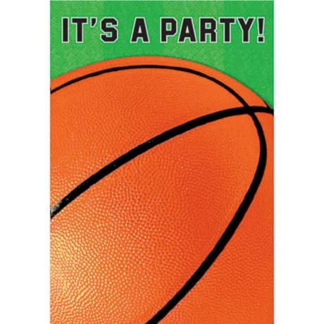 Paper party invitation with basketball for a March Madness Party ideas for adults or kids.