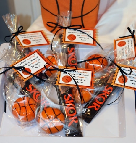 March Madness party favors with Skor candy bars for guests at party dessert tables.