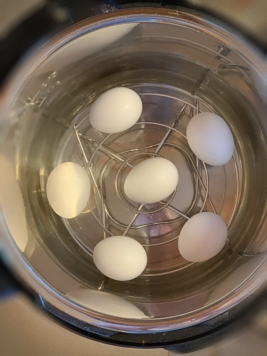 Hard boiled eggs for easy peeling from the Instant Pot recipe.