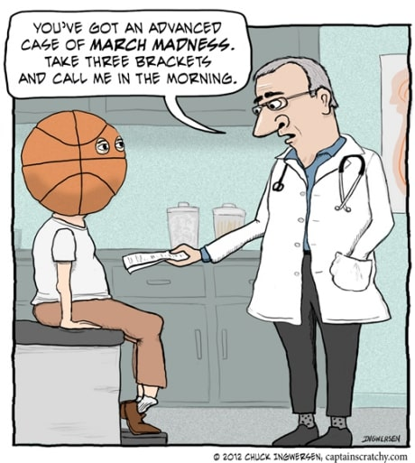 Meme cartoon of doctor prescribing a man with basketball head for March Madness 2019