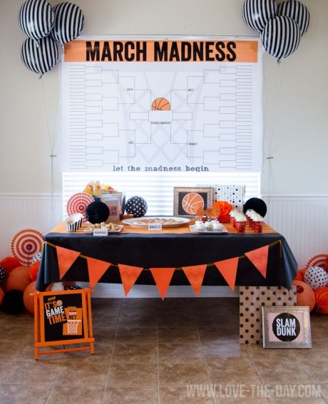 Free printable of March Madness bracket to enlarge and hang as wall decoration at March Madness Party.