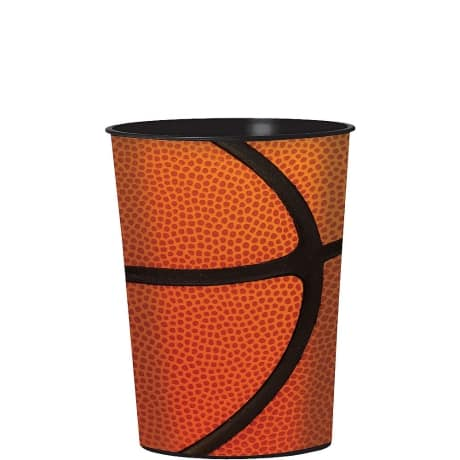 Single Orange and black hard plastic favor cup with printed image of a NCAA basketball.