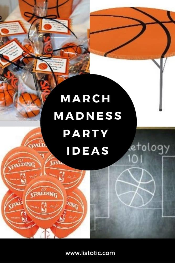 March Madness decoration ideas for anyone who wants to throw an epic basketball themed party with party favors, basketball table covers, chalkboards and balloons.