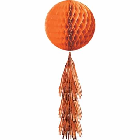 March Madness Party City decoration of Orange Ball shape with frill hanging décor.
