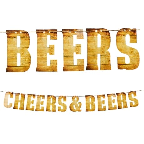 : Party Decoration Banner in wood print saying cheers and beers for an Adult basketball themed party decoration from Party City.