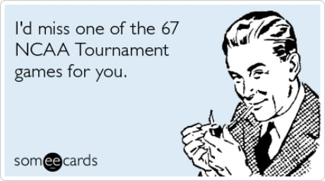 Funny meme of 1060s man smoking pipe with quote on NCAA basketball tournament.