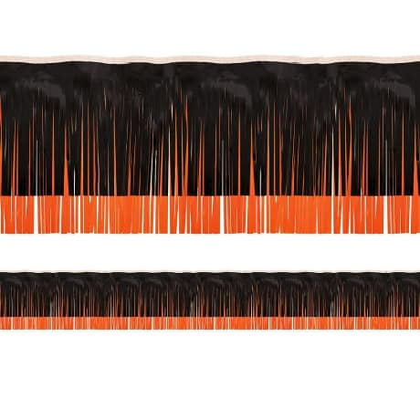 Party City Metallic orange and black fringed party décor for March Madness Party Decorations.