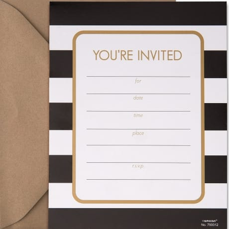 Your invited party invitation with black and white referee stripes perfect for March Madness Party invitations.