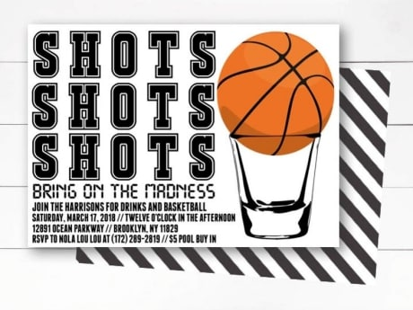 Shots March Madness Party Invitation on Etsy with shot glass and basketball .