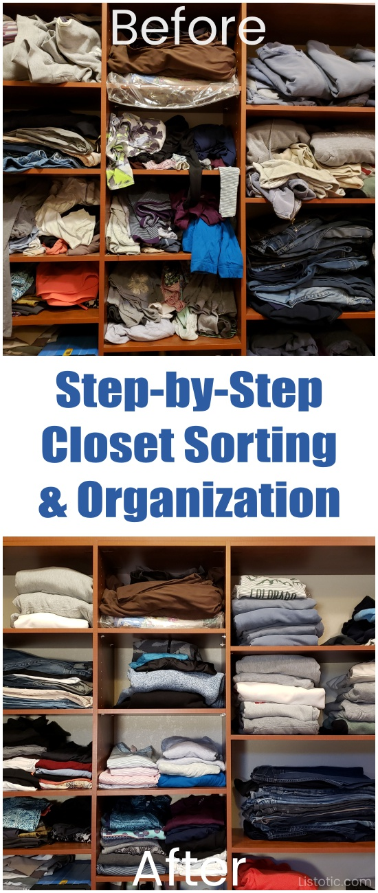 Step by step closet sorting and organization before and after pictures.