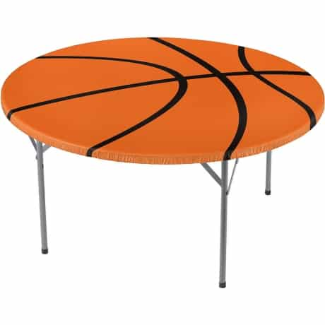 Orange and Black Basketball table cover for March madness theme birthday party.
