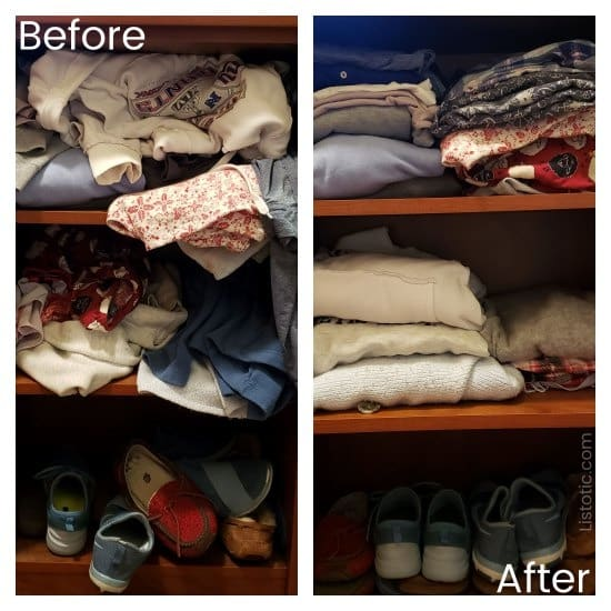 Closet organization by color from a mess to a declutter organized closet.