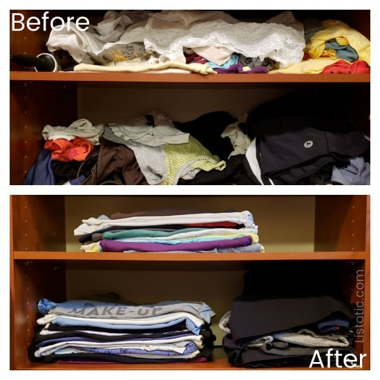 Organize into toss and keep piles to sort and organize your clothes.