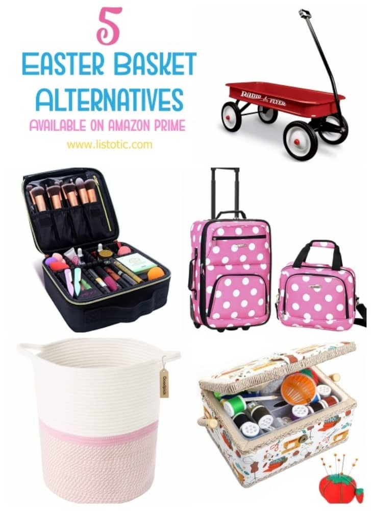 Easter basket alternatives including Radio Flyer wagon, luggage, makeupbag, hamper and sewing kit.