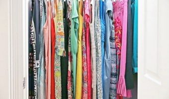 Closet Organization system put into place with a small closet make over using the Marie Kondo book on decluttering and organizing.