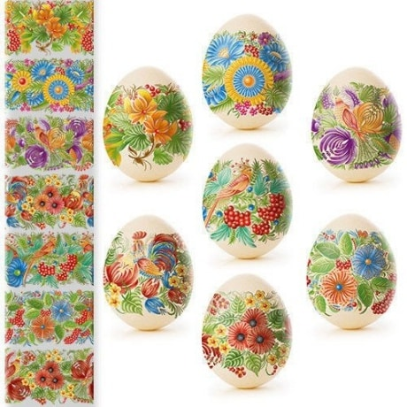 Birds, berries and colorful flowers on shrink wrap sleeves made for hard boiled eggs.