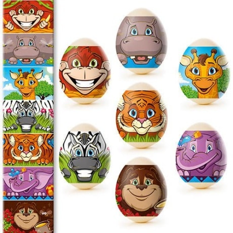 Colorful animal shrink wrap sleeves fun for kids on hard boiled eggs