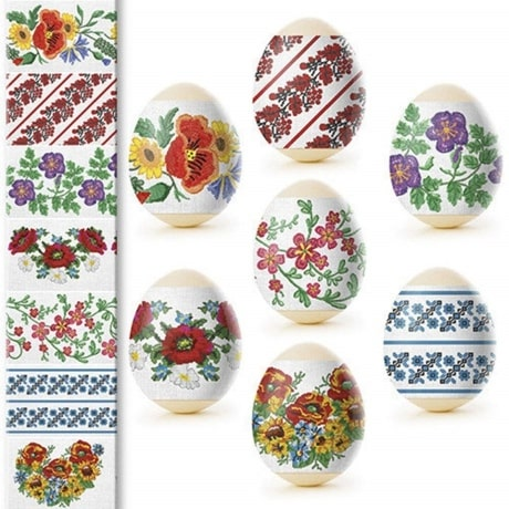Variety of shrink wrap sleeves for Hard boiled Eggs with floral patterns and designs