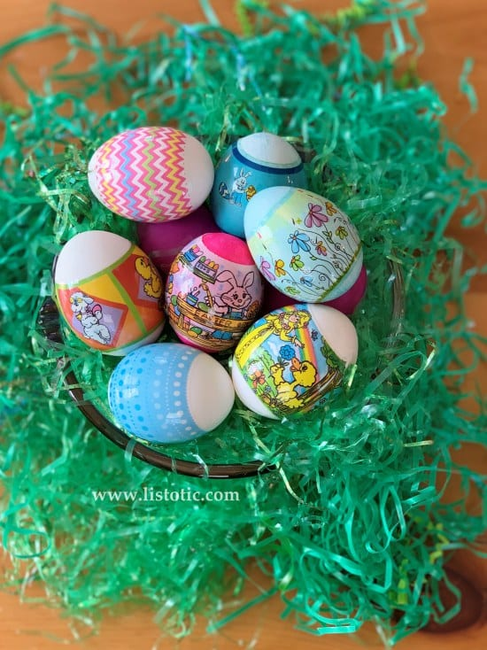 Colorful patterned Easter Eggs in a decorative Easter Display for Sunday brunch