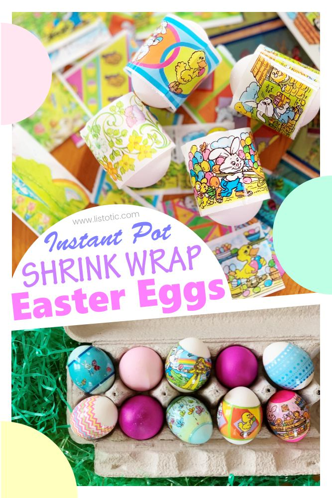 How to make instant pot Easter eggs with decorative shrink wrap tutorial start to finish
