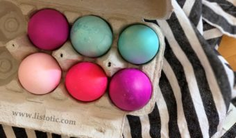 DIY Half dozen bight dyed Easter eggs in a egg carton for Easter decorating