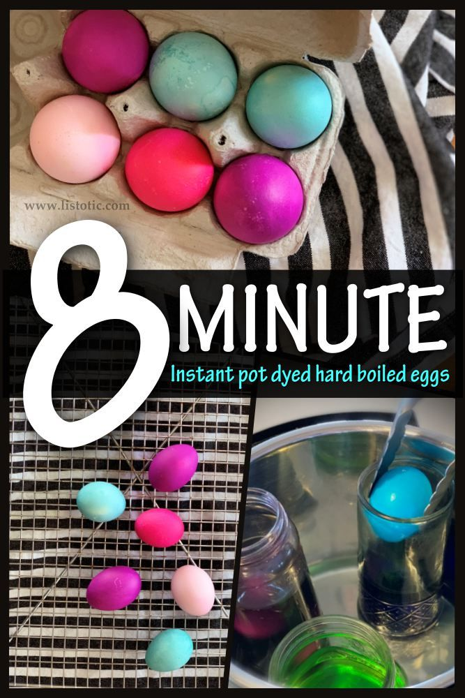 Half dozen hard boiled eggs dyed with bright blue pink and purple dye in the instant pot for 8 minutes.