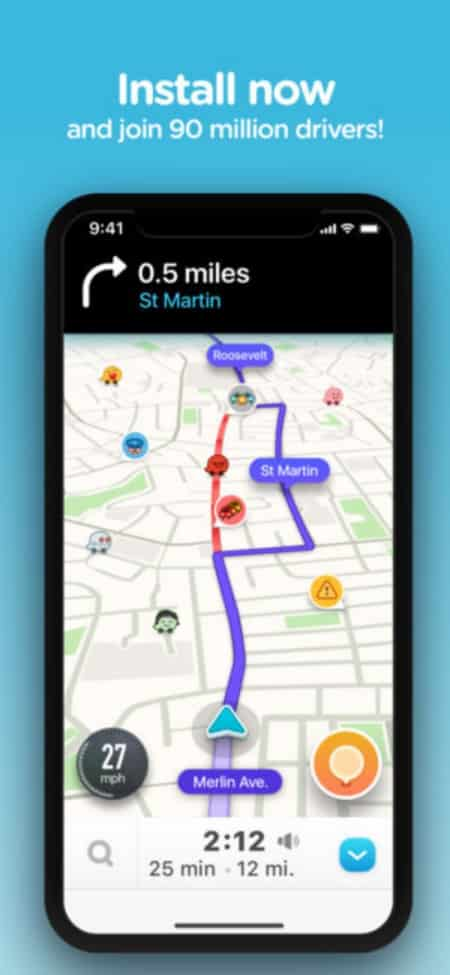 Waze is the largest community-based traffic and navigation app allowing other drivers in your area to share real time traffic and road information.