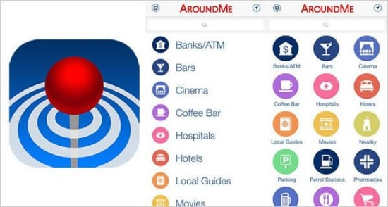 Around Me will help you locate nearby restaurants, bars, movie theatres, hospitals gas stations, area attractions and more.